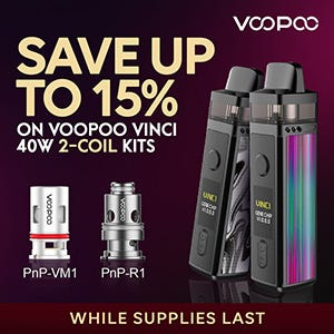 Save Up to 15% on Voopoo Vinci 40W 2-Coil Kits