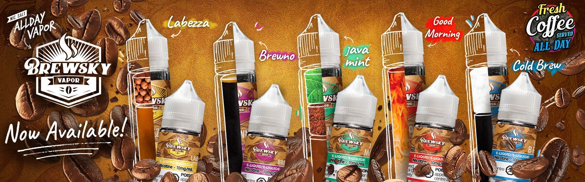 Brewsky Vapor coffee flavours by Allday Vapor available now!